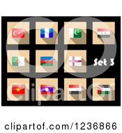 Clipart Of National Flag Icons On Black 3 Royalty Free Vector Illustration