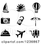 Clipart Of Black And White Travel Icons Royalty Free Vector Illustration
