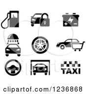 Clipart Of Black And White Automotive And Service Icons Royalty Free Vector Illustration