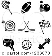 Clipart Of Black And White Sports And Recreation Icons Royalty Free Vector Illustration
