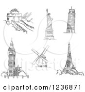 Clipart Of Black And White Sketched Architectural Monuments And Landmarks 2 Royalty Free Vector Illustration