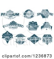 Clipart Of Blue Quality Labels Royalty Free Vector Illustration