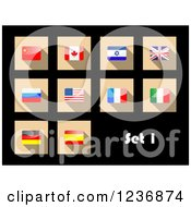 Clipart Of National Flag Icons On Black Royalty Free Vector Illustration by Vector Tradition SM
