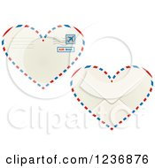 Clipart Of The Front And Back Of A Heart Shaped Valentine Air Mail Envelope Royalty Free Vector Illustration