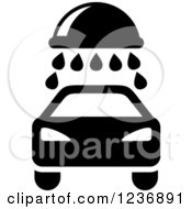 Clipart Of A Black And White Car Wash Icon Royalty Free Vector Illustration