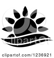 Clipart Of A Black And White Sun And Surf Icon Royalty Free Vector Illustration