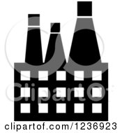 Clipart Of A Black And White Oil Factory Icon Royalty Free Vector Illustration