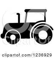Clipart Of A Black And White Tractor Icon Royalty Free Vector Illustration