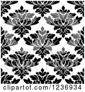 Clipart Of A Seamless Black And White Damask Background Pattern 15 Royalty Free Vector Illustration