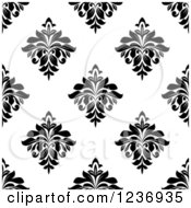Clipart Of A Seamless Black And White Damask Background Pattern 14 Royalty Free Vector Illustration