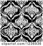 Clipart Of A Seamless Black And White Damask Background Pattern 13 Royalty Free Vector Illustration