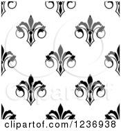 Seamless Black And White Fleur De Lis Background Pattern 7
