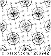 Clipart Of A Seamless Background Pattern Of Black And White Compass Roses Royalty Free Vector Illustration