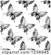 Clipart Of A Seamless Black And White Butterfly Background Pattern 3 Royalty Free Vector Illustration