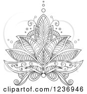Clipart Of A Black And White Henna Lotus Flower 6 Royalty Free Vector Illustration