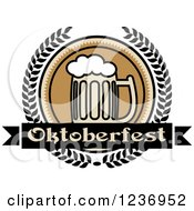 Clipart Of A Beer Mug With An Oktoberfest Banner And Laurels Royalty Free Vector Illustration