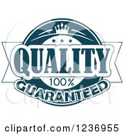Clipart Of A Blue Quality Label 2 Royalty Free Vector Illustration