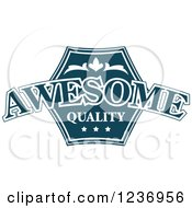 Clipart Of A Blue Quality Label 3 Royalty Free Vector Illustration