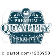 Clipart Of A Blue Quality Label 5 Royalty Free Vector Illustration