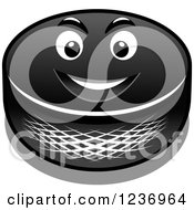 Clipart Of A Tough Hockey Puck Character Royalty Free Vector Illustration
