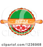 Clipart Of A Rolling Pin With Pizza Text Over A Pie On Green Royalty Free Vector Illustration