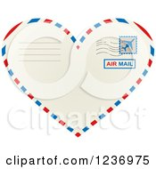 Clipart Of A Postmarked Heart Shaped Valentine Air Mail Envelope Royalty Free Vector Illustration