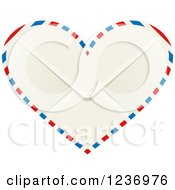 Clipart Of A Heart Shaped Valentine Air Mail Envelope Royalty Free Vector Illustration