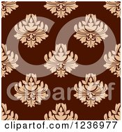 Clipart Of A Seamless Maroon And Tan Damask Background Pattern Royalty Free Vector Illustration