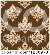 Clipart Of A Seamless Brown And Tan Damask Background Pattern 3 Royalty Free Vector Illustration
