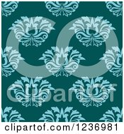 Clipart Of A Seamless Turquoise And Teal Damask Background Pattern Royalty Free Vector Illustration