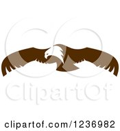 Clipart Of A Flying Brown Bald Eagle Royalty Free Vector Illustration