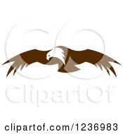 Clipart Of A Flying Brown Bald Eagle 2 Royalty Free Vector Illustration