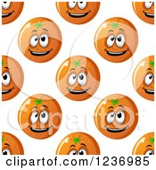 Clipart Of A Seamless Background Pattern Of Happy Oranges Royalty Free Vector Illustration
