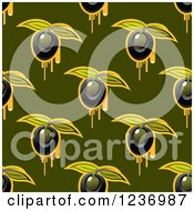 Clipart Of A Seamless Black Olive And Oil Background Pattern On Green Royalty Free Vector Illustration