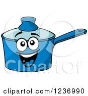 Clipart Of A Happy Blue Sauce Pan Royalty Free Vector Illustration