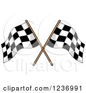 Clipart Of A Crossed Checkered Racing Flags 3 Royalty Free Vector Illustration