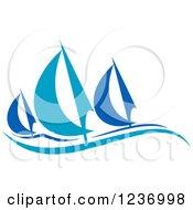 Clipart Of Regatta Sailboats In Blue Royalty Free Vector Illustration