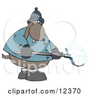 Cold Dog Shoveling Snow Clip Art Illustration