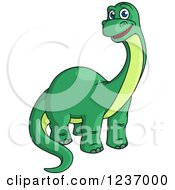 Cute Happy Green Apatosaurus Dinosaur