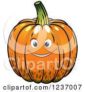 Clipart Of A Happy Pumpkin Royalty Free Vector Illustration