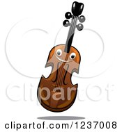 Clipart Of A Happy Smiling Violin Royalty Free Vector Illustration