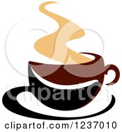 Clipart Of A Brown Cafe Coffee Cup With Steam 48 Royalty Free Vector Illustration
