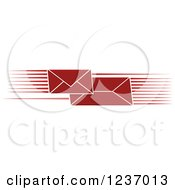 Clipart Of A Fast Red Envelopes With Speed Lines Royalty Free Vector Illustration by Vector Tradition SM
