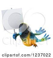 Clipart Of A 3d Blue And Yellow Macaw Parrot Flying With A Blank Sign Royalty Free Illustration