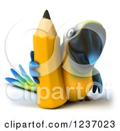 Clipart Of A 3d Blue And Yellow Macaw Parrot With A Giant Yellow Pencil Royalty Free Illustration