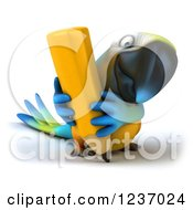 Clipart Of A 3d Blue And Yellow Macaw Parrot Writing With A Giant Yellow Pencil Royalty Free Illustration