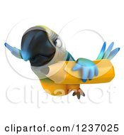 Clipart Of A 3d Blue And Yellow Macaw Parrot Flying With A Giant Yellow Pencil Royalty Free Illustration