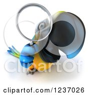 Clipart Of A 3d Blue And Yellow Macaw Parrot Looking Through A Magnifying Glass Royalty Free Illustration