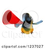 Clipart Of A 3d Blue And Yellow Macaw Parrot Flying With A Megaphone Royalty Free Illustration