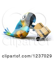 Clipart Of A 3d Blue And Yellow Macaw Parrot Moving Boxes On A Dolly Royalty Free Illustration